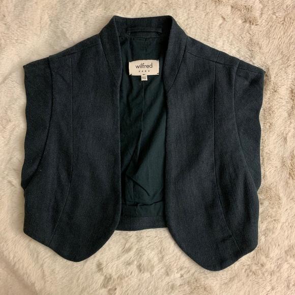 Aritzia Jackets & Blazers - Aritzia Wilfred Dark Gray/Black Linen CoverUp Vest